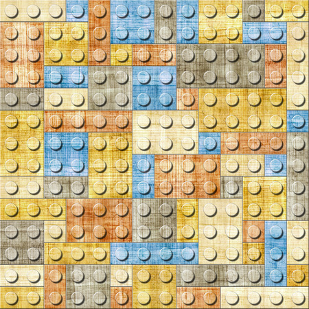 papyrus: Decorative building cubes - seamless pattern - papyrus texture Stock Photo