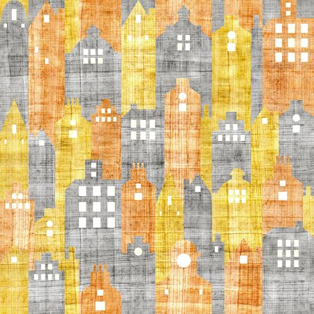 scratchy: urban architecture - seamless pattern - papyrus texture