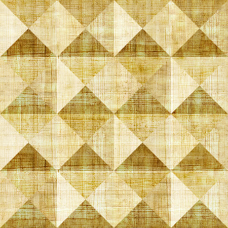 aged paper: Abstract paneling pattern - seamless background - pyramidal pattern - papyrus structure Stock Photo