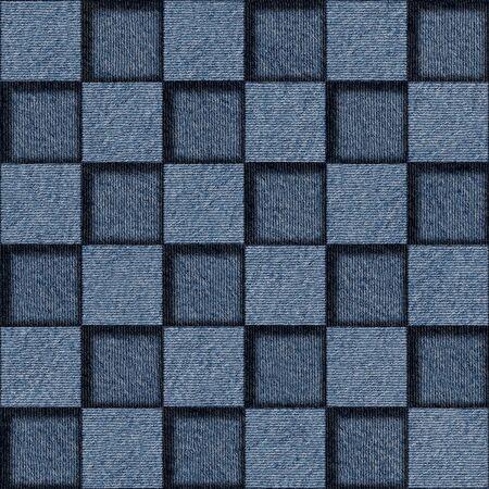 checkered pattern: Checkered pattern - seamless pattern - blue jeans cloth Stock Photo