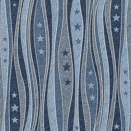 Abstract paneling pattern - Stars seamless pattern - blue jeans textile