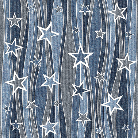 Abstract paneling pattern - seamless pattern - Christmas pattern - blue jeans cloth Stock Photo