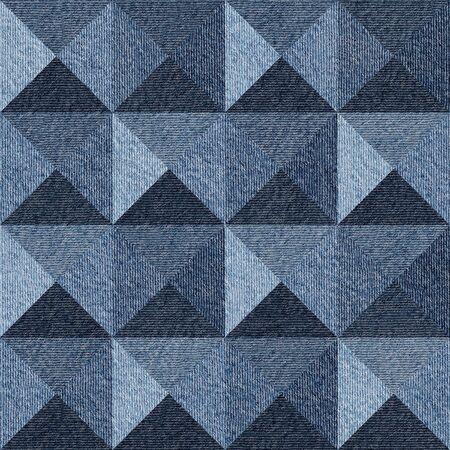 Abstract paneling pattern - seamless pattern - pyramidal pattern - Blue denim jeans