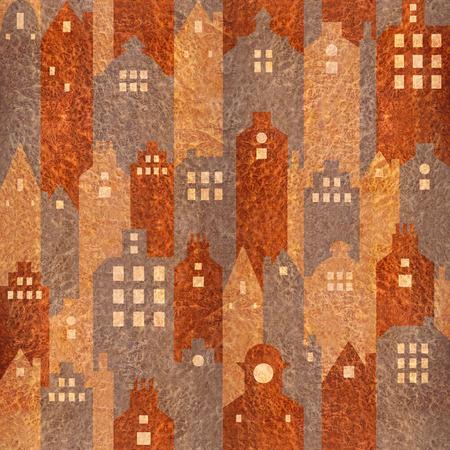 elm: Abstract city buildings - seamless background - Carpathian Elm wood texture