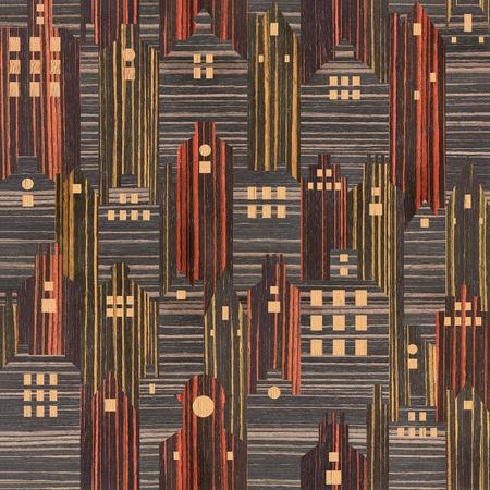 ebony: Abstract city buildings - seamless background - Ebony wood texture Stock Photo