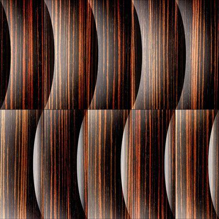 ebony: Abstract paneling pattern - waves decoration - Ebony wood texture