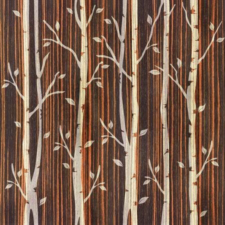 ebony wood: Decorative trees on seamless background  - Ebony wood texture
