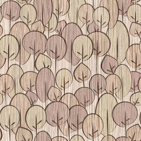 blasted: Decorative trees on seamless background - Blasted Oak Groove wood texture Stock Photo