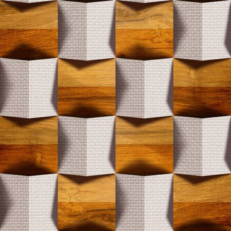 Abstract paneling pattern - seamless background - combination of wood textures and textiles Stock Photo
