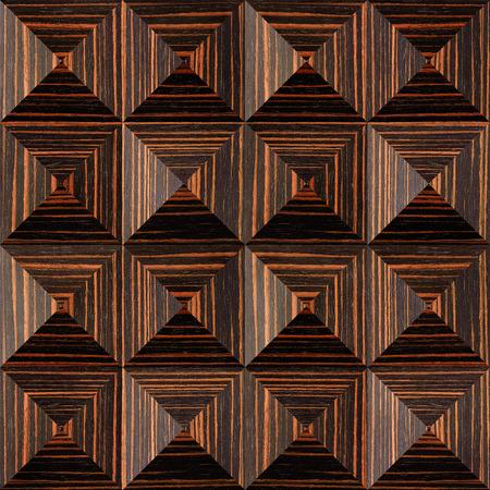 ebony: Abstract paneling pattern - pyramidal pattern - Ebony wood texture Stock Photo
