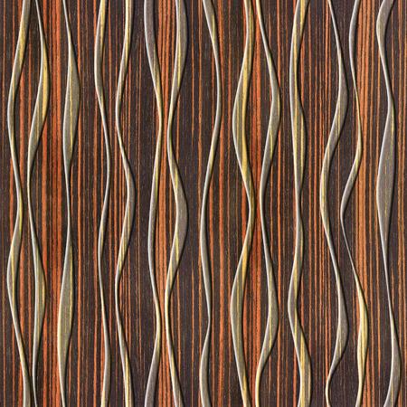 ebony: Abstract decorative paneling - seamless background - waves decor - Ebony wood texture