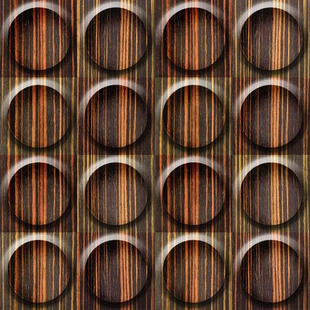 ebony wood: Wooden rounded abstract blocks stacked for seamless background - Ebony wood texture Stock Photo