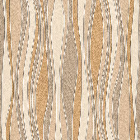 retro wallpaper: Abstract paneling pattern - waves decoration - seamless background - White Oak wood texture