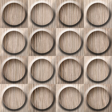 Wooden rounded abstract blocks stacked for seamless background - Blasted Oak Groove wood texture