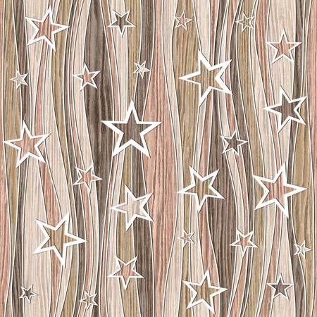 groove: Abstract decorative paneling - Stars seamless pattern - Blasted Oak Groove wood texture