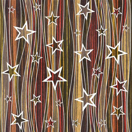 ebony: Abstract decorative paneling - Stars seamless pattern - Ebony wood texture Stock Photo