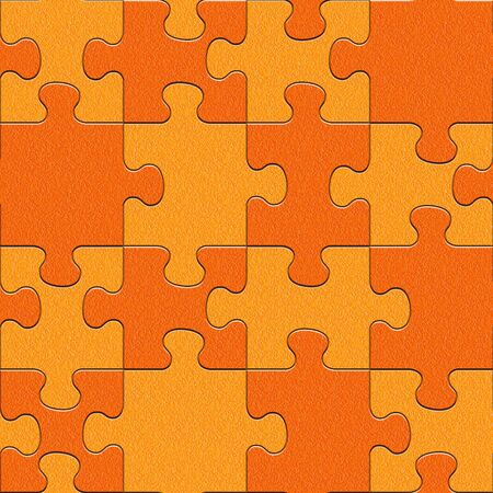 Abstract puzzles pattern - seamless background - tangerine texture Stock Photo