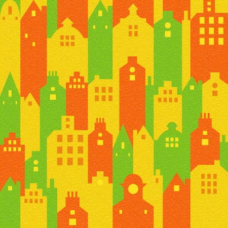 Abstract city buildings - seamless background - citrus texture Stock Photo