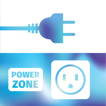 electrical: electrical connection - wire plug and socket - symbol electricity - power zone Illustration