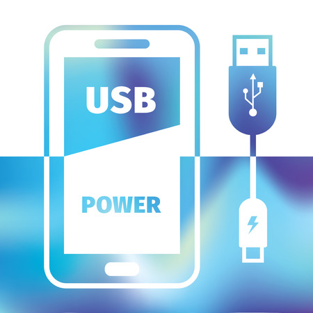 charging mobile phone - USB connection - symbol recharging energy