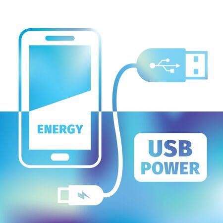 plug adapter: charging mobile phone - USB connection - symbol recharging energy