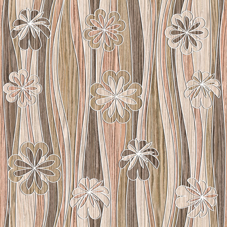 seamless wood texture: Floral wallpaper - waves decoration