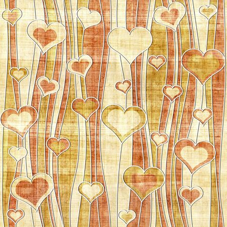 waves pattern: Romantic hearts - decorative pattern - waves decoration - seamless background - papyrus texture Stock Photo