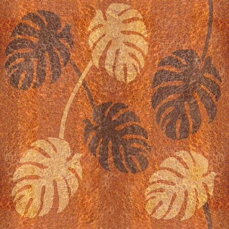 elm: Decorative tropical leaves - seamless background - Carpathian Elm wood texture Stock Photo