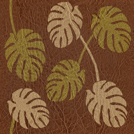 texture leather: Abstract tropical jungle - seamless background - leather texture