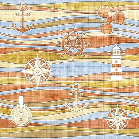 squalid: Nautical decoration - waves decoration - seamless background - papyrus surface Stock Photo