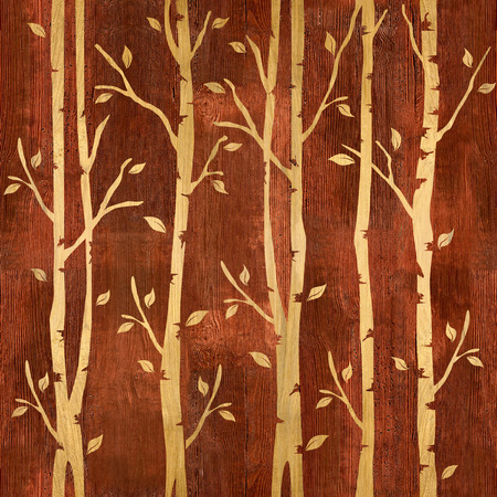 wood paneling: Abstract decorative trees - seamless background - wood texture