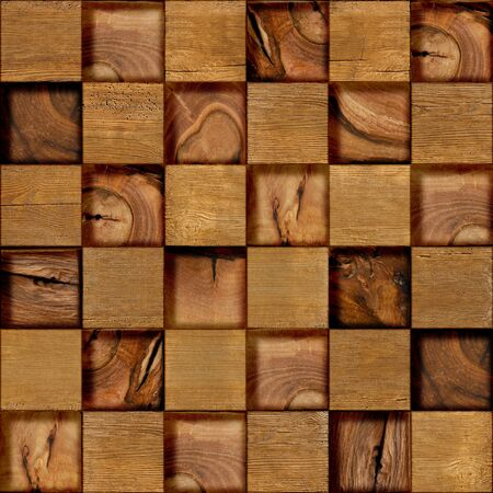 wood surface: Abstract checkered pattern - seamless background - wood surface
