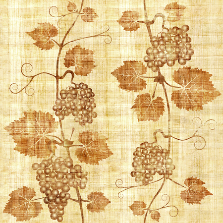 winemaking: Decorative grape leaves - grape wine background - seamless background - Interior Design wallpaper - wall panel pattern - papyrus texture Stock Photo