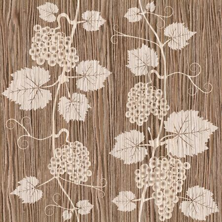 wine growing: Decorative grape leaves - grape wine background - seamless background - Interior Design wallpaper - wall panel pattern - Blasted Oak Groove wood texture