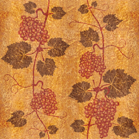 viticulture: Decorative grape leaves - grape wine background - seamless background - Interior Design wallpaper - wall panel pattern - Carpathian Elm wood texture