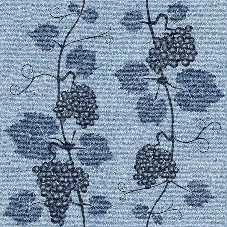 winemaking: Decorative grape leaves - grape wine background - seamless background - Interior Design wallpaper - wall panel pattern - blue jeans textile