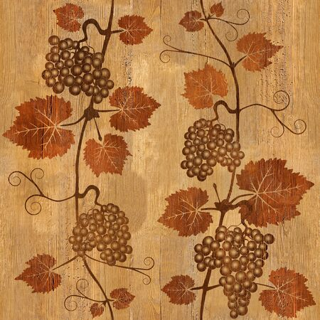 panelling: Decorative grape leaves - grape wine background - seamless background - Interior Design wallpaper - wall panel pattern - wood texture