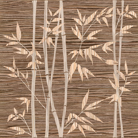 japones bambu: ramas decorativas de bambú - Bambú - fondo del bosque de fondo sin fisuras - Inter - Diseño del papel pintado de la pared modelo panel - Blasted roble Groove textura de la madera Foto de archivo
