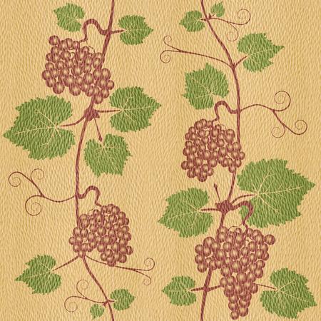 panelling: Decorative grape leaves - grape wine background - seamless background - Interior Design wallpaper - wall panel pattern - White Oak wood texture