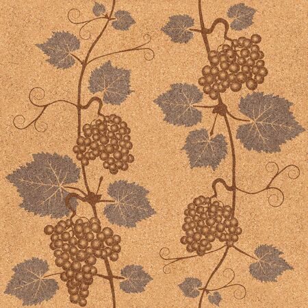 wallpaper wall: Decorative grape leaves - grape wine background - seamless background - Interior Design wallpaper - wall panel pattern - texture cork