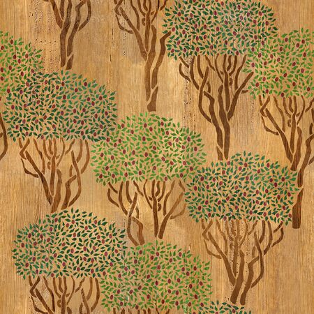 wallpaper wall: Decorative olive grove - seamless background - Interior Design wallpaper - wall panel pattern - wood texture Stock Photo