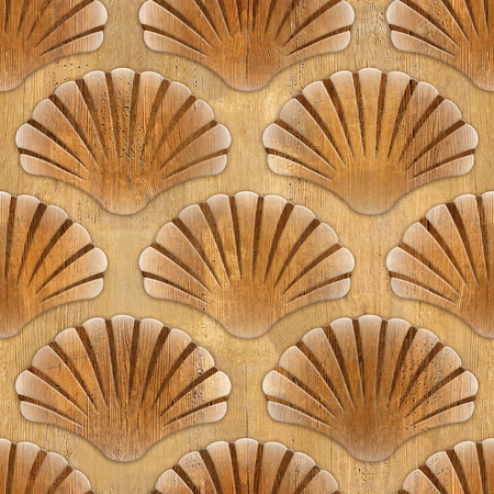cockleshell: Imaginary decorative seashells - Interior Design wallpaper - Interior wall panel pattern - seamless background - design background - wood texture