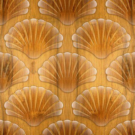 cherry wood: Imaginary decorative seashells - Interior Design wallpaper - Interior wall panel pattern - seamless background - design background - Cherry wood texture