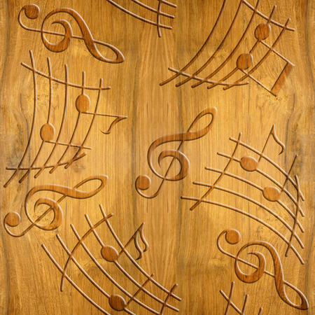cherry wood: Abstract decorative music notes - Cherry wood texture - seamless background - Interior wall panel pattern - decorative wrapping paper - Elegant creative design