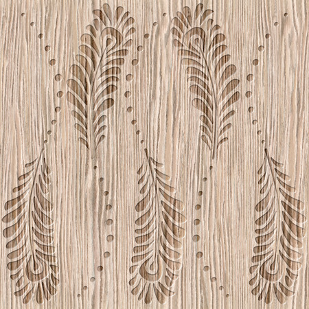 groove: Decorative peacock feathers - Blasted Oak Groove wood texture - seamless background - Interior wall panel pattern - decorative wrapping paper Stock Photo