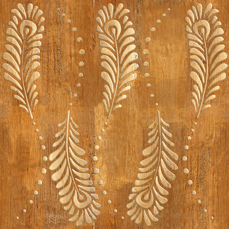 Decorative peacock feathers - wood texture - seamless background - Interior wall panel pattern - decorative wrapping paper