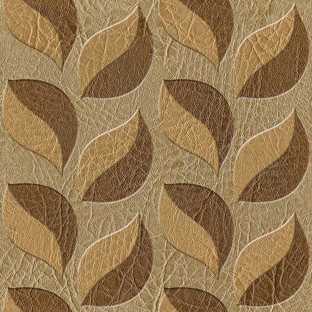 wall decoration: Pattern of the decorative leaves - Interior wall decoration - leather texture - seamless background Stock Photo