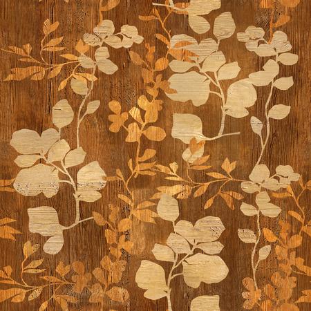 Bloemen decoratief patroon - Interior wanddecoratie - Cherry houtstructuur - naadloze achtergrond Stockfoto