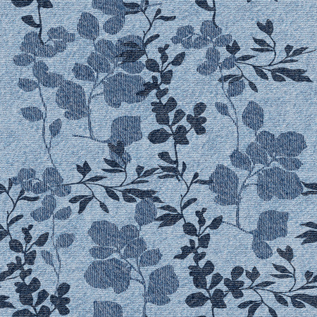 cotton plant: Floral decorative pattern - Interior wall decoration - Blue jeans texture - seamless background