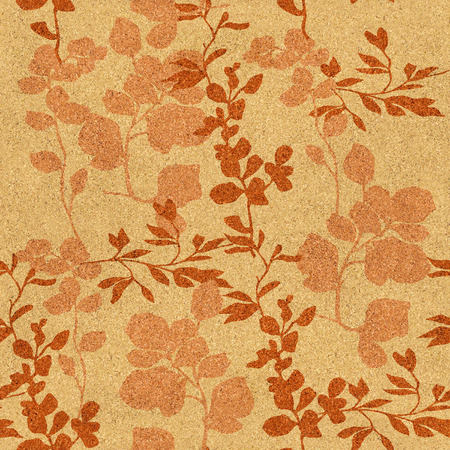 wall decoration: Floral decorative pattern - Interior wall decoration - texture cork - seamless background Stock Photo